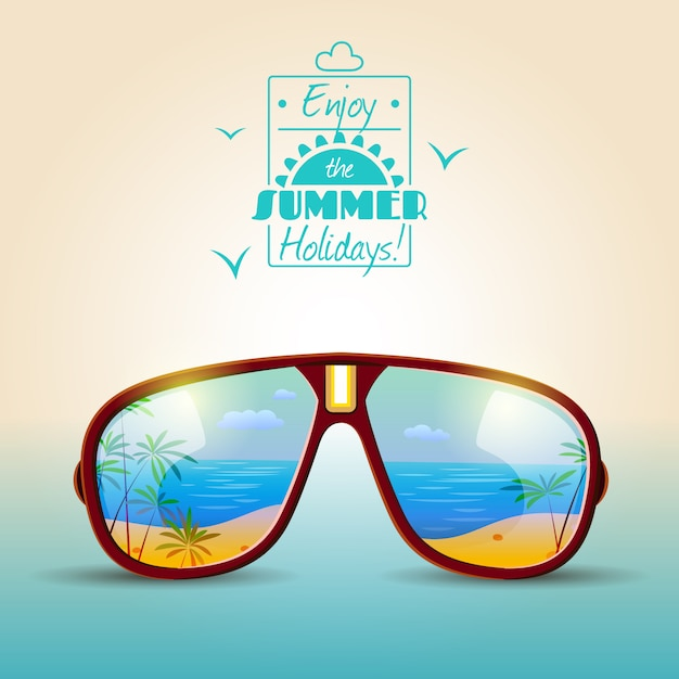 Sunglasses summer poster Free Vector
