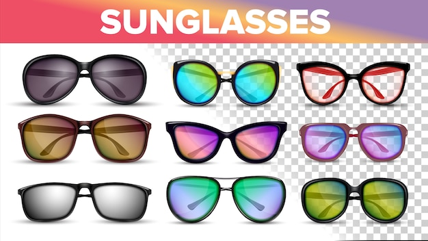 Солнцезащитные очки различных стилей и типов Premium векторы