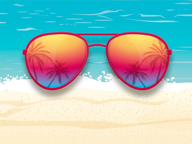 Sunglasses with palm trees reflection Premium Vector
