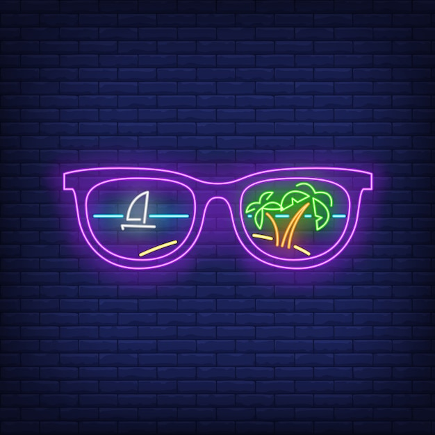 Sunglasses with palm trees and ship reflection neon sign Free Vector