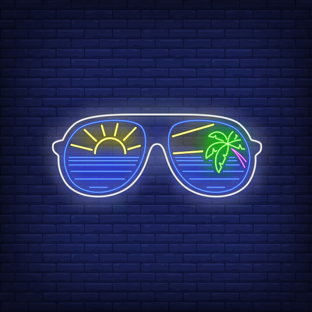 Sunglasses with sea, sun and palm tree reflection neon sign Free Vector