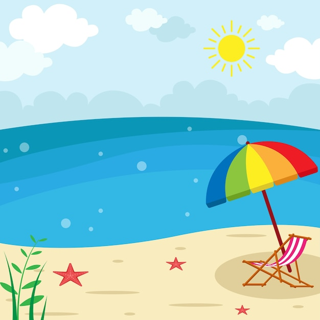 sunny beach landscape lounge chair with umbrella vector umbrella vector clip art umbrella vector art