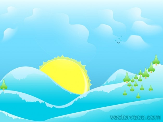 Sunny Cartoon Background Abstract Free Vector
