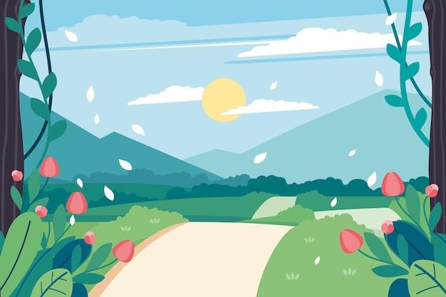 晴れた日と道路の春の風景 無料ベクター