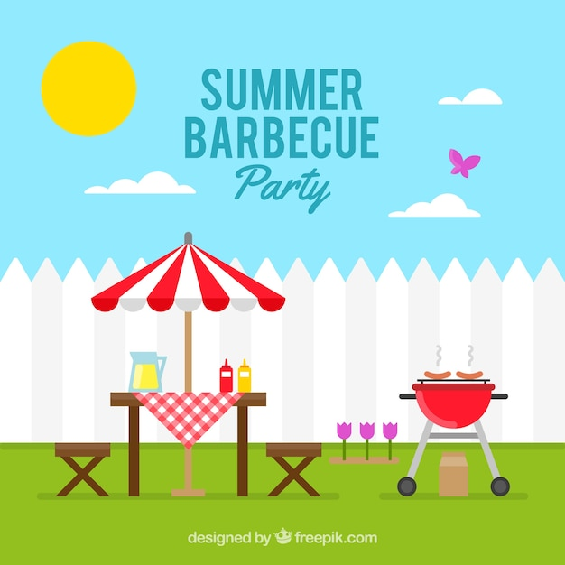 Sunny day with a barbecue party background | Free Vector