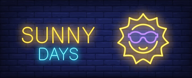 Sunny days yellow blue neon style lettering. sun in sunglasses on brick background. Free Vector