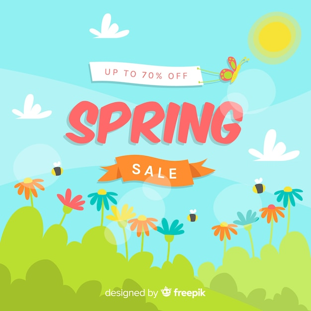 Sunny field spring sale background Free Vector