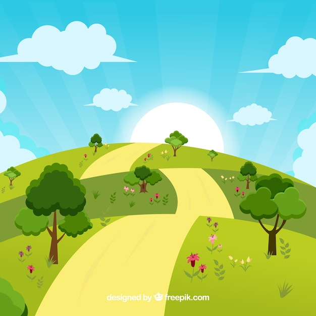 Sunny landscape background design vector free download for Sunny landscape designs