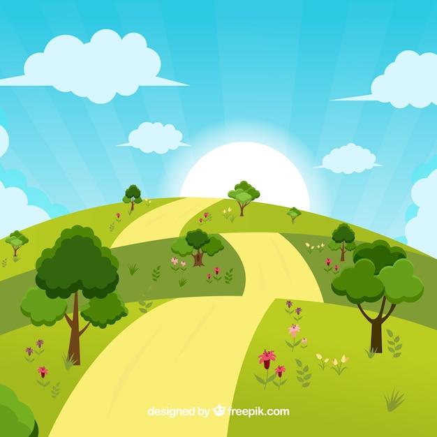 Landscape Illustration Vector Free: Sunny Landscape Background Design Vector