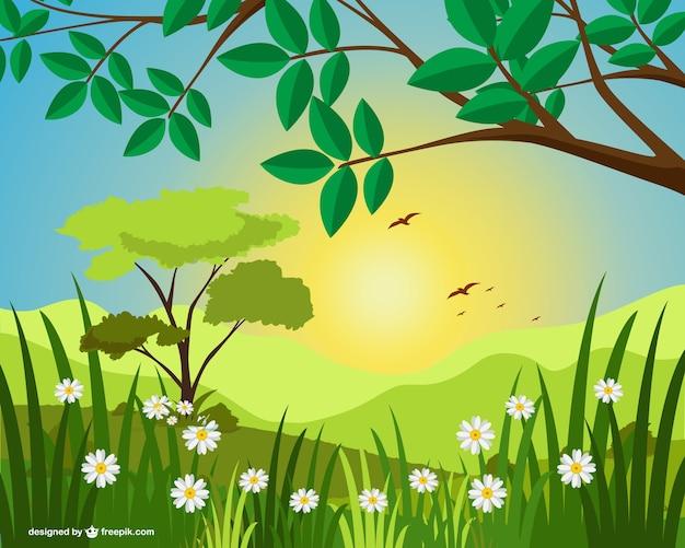 Landscape Illustration Vector Free: Sunny Landscape Illustration Vector