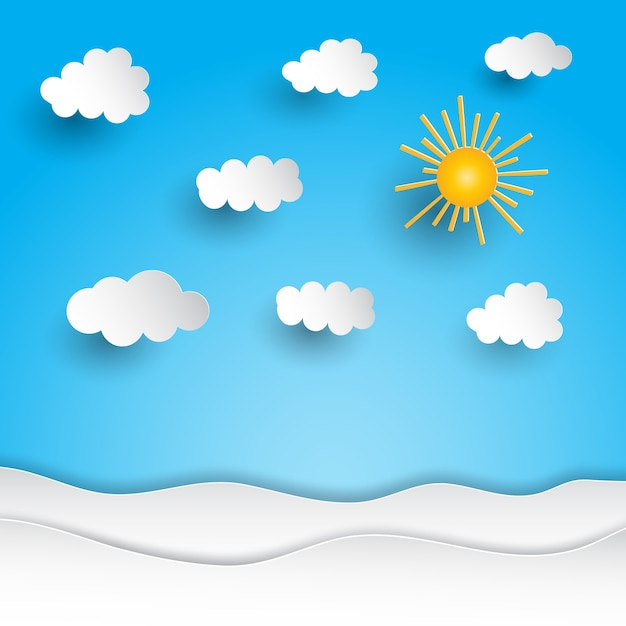 Sunny landscape with paper cut out design vector free for Landscape design paper
