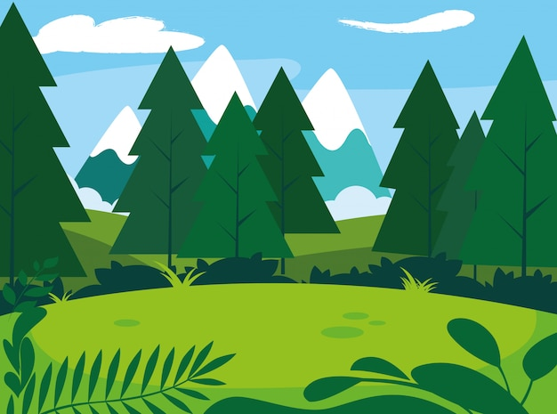 Sunny landscape with pines trees scene natural Premium Vector
