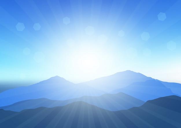 Sunny mountain landscape illustration Free Vector