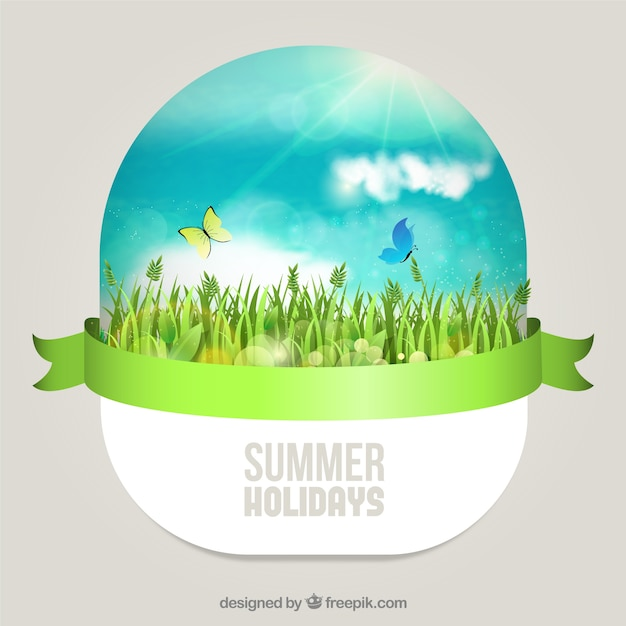 Sunny summer day in the grassy Free Vector