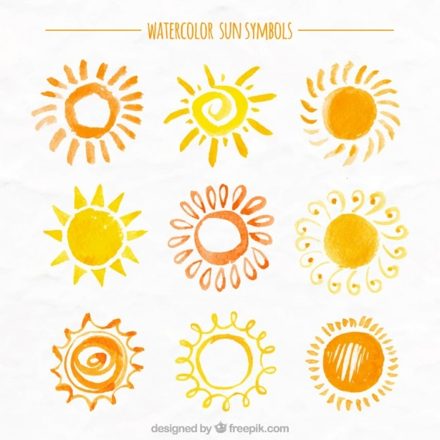 Sunny watercolor collection Free Vector