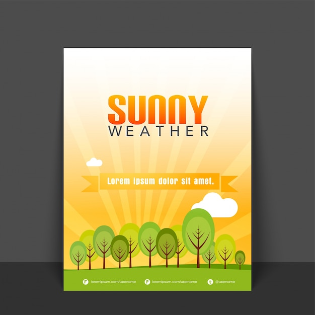 Sunny Weather Flyer Template Or Banner Design With Illustration