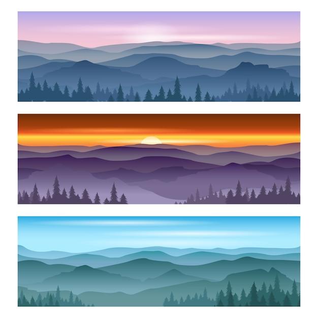 산과 산 일몰 일출. 벡터 배경 풍경, 자연 일몰, 야외 일출 산 그림 무료 벡터