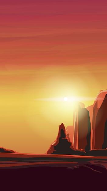 Восход солнца в песчаном каньоне в теплых оранжевых тонах Premium векторы