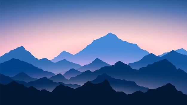 山の日の出。山の風景を彩ります。ハイキング-朝の景色 Premiumベクター