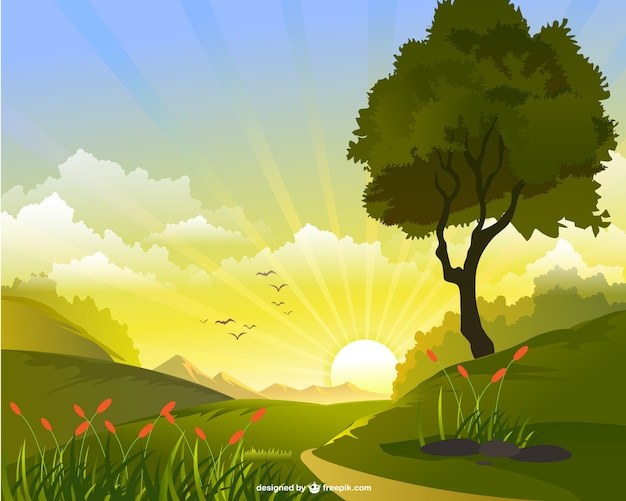Sunrise in the fields Free Vector