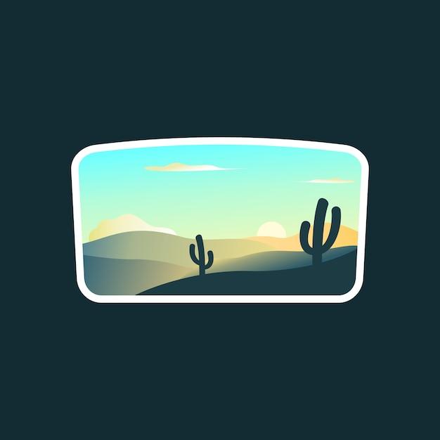 Sunrise landscape logo Premium Vector