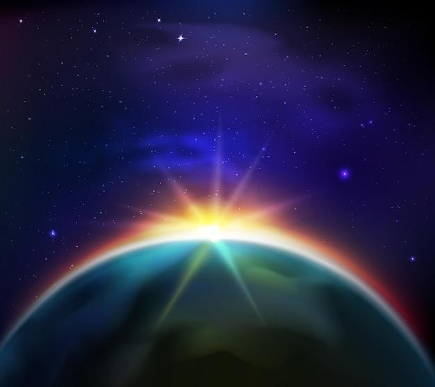 Sunrise in starry dark sky illustration Free Vector
