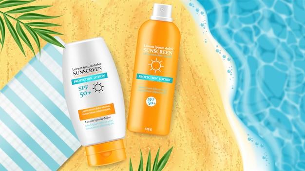 Sunscreen cream mock up illustrations Premium Vector