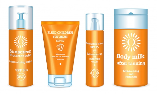 Sunscreen products set. realistic set of sunscreen Premium Vector