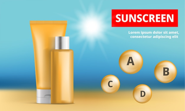 Sunscreen protection concept background Premium Vector
