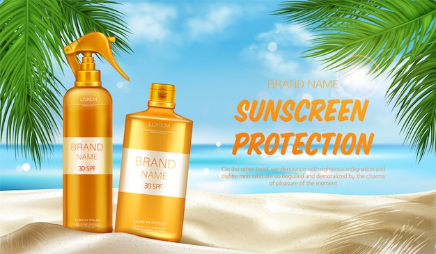 Sunscreen protection uv cosmetic banner, summer Free Vector