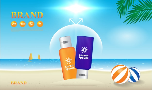 Sunscreen uv protection on the beach illustration, advertising template Premium Vector