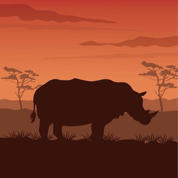 シルエットrhino立っていると日没のアフリカの風景 Premiumベクター