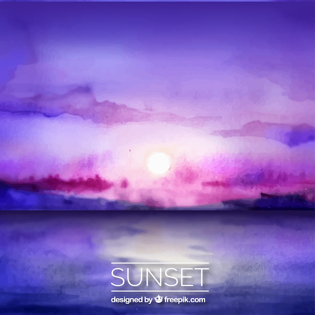 Sunset at the sea, watercolors