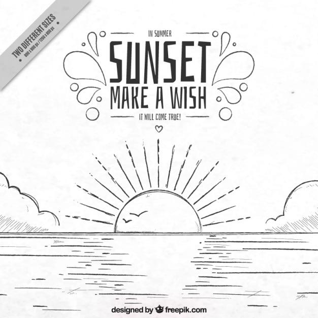Sunset background hand drawn