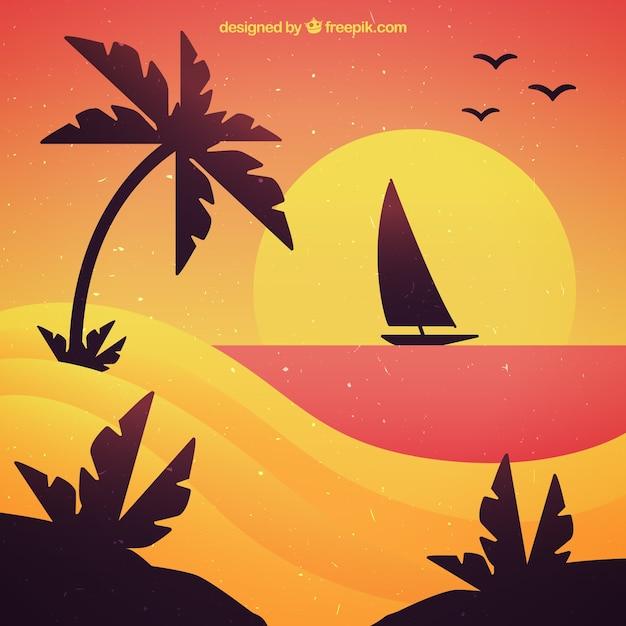 Sunset background of boat sailing