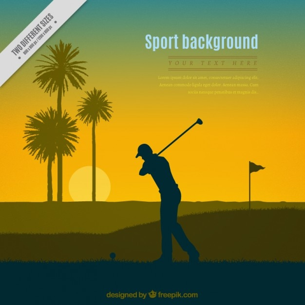 Sunset background of golfer silhouette