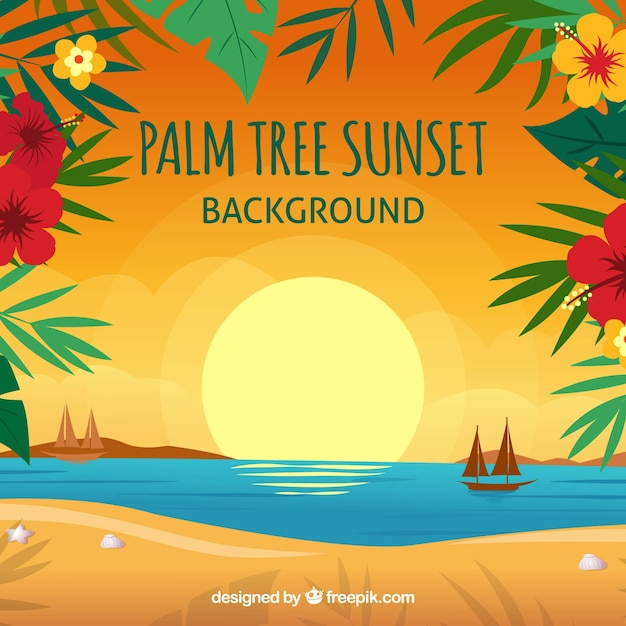 Sunset background on the beach with floral\ decoration