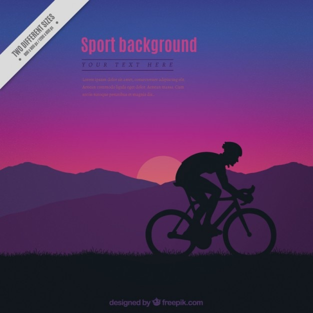 Sunset background with a cyclist\ silhouette