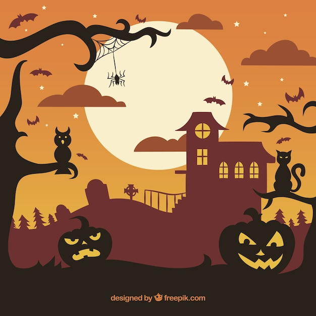 Sunset background with halloween\ landscape