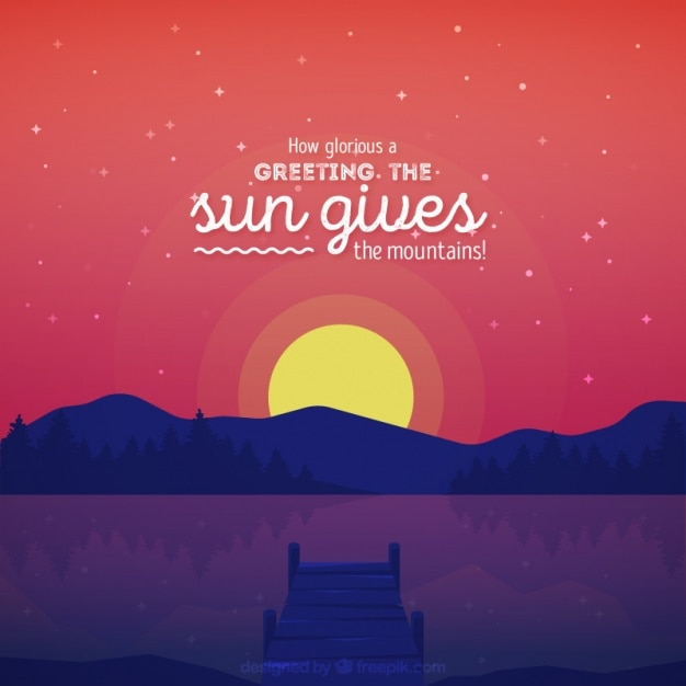 Sunset background with inspiring message