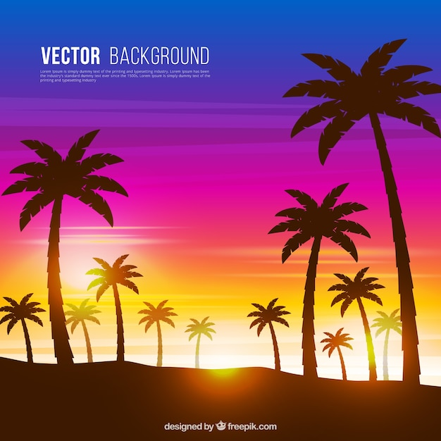 Sunset background with palm tree\ silhouettes