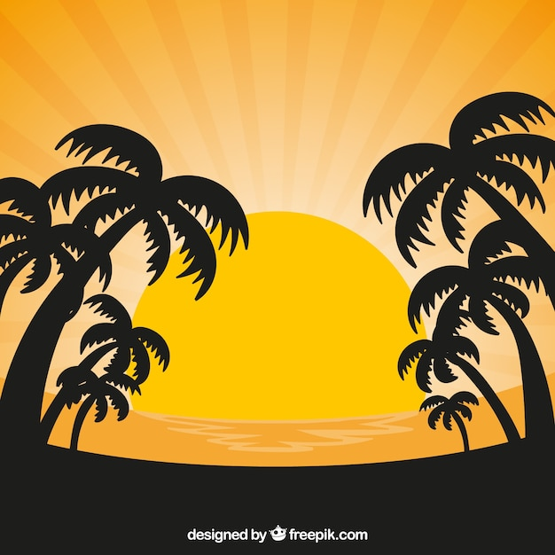 Sunset background with sun and silhouettes of\ palm trees