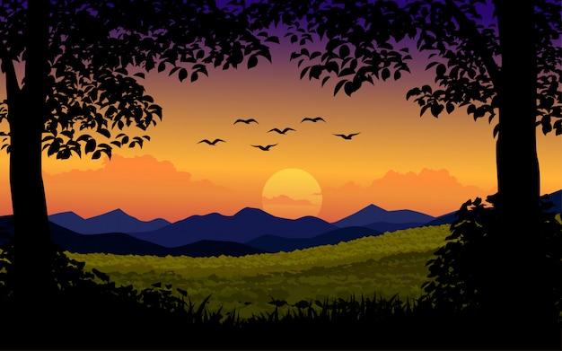 木と鳥と夕日を背景 Premiumベクター