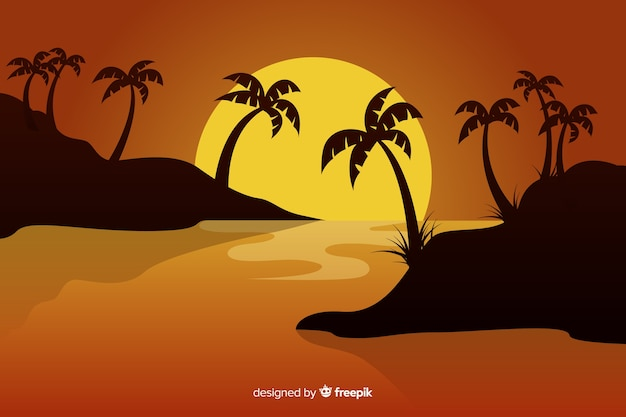 Sunset in the beach background Free Vector