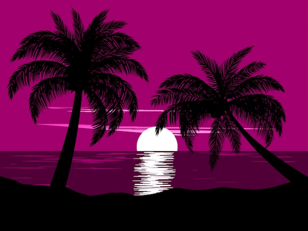 Sunset at beach with two palm trees Premium Vector