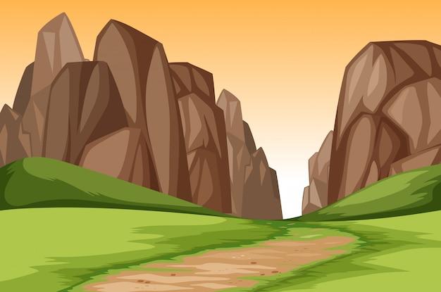Sunset canyon landscape scene Premium Vector