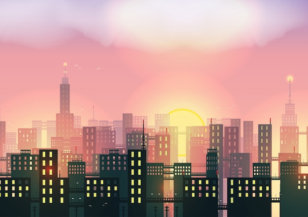 Sunset in the city background Free Vector