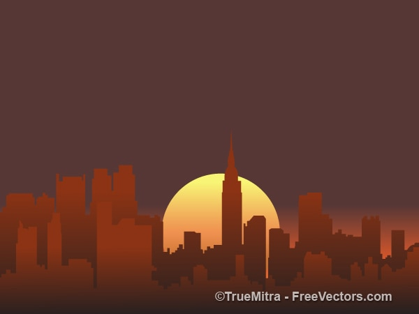 Sunset city silhouettes background vector\ set