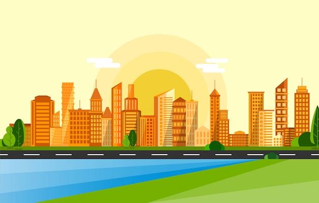 Sunset cityscape Premium Vector