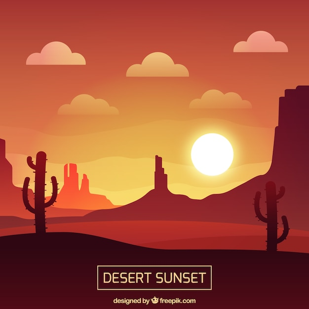 Sunset in the desert, red tones Free Vector